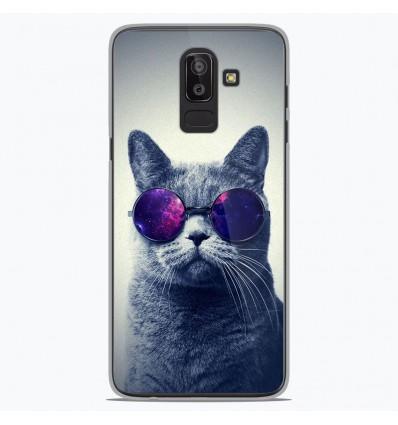 Coque en silicone Samsung Galaxy J8 2018 - Chat à lunette