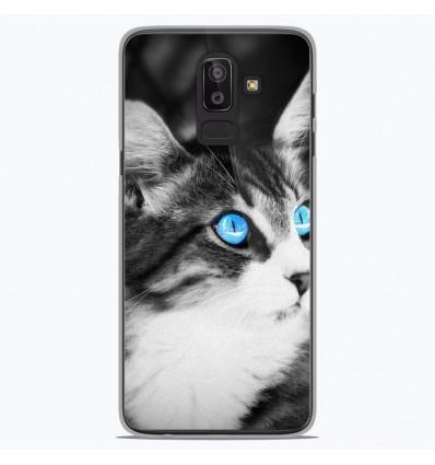 Coque en silicone Samsung Galaxy J8 2018 - Chat yeux bleu