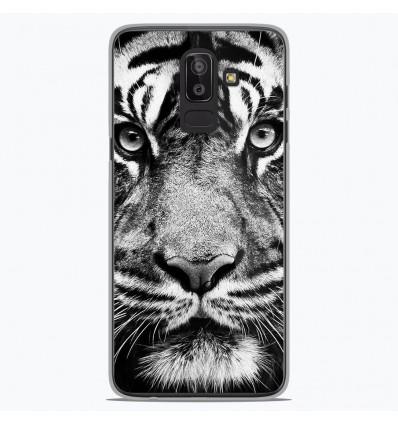 Coque en silicone Samsung Galaxy J8 2018 - Tigre blanc et noir