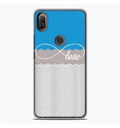 Coque en silicone Wiko View 2 - Love Bleu
