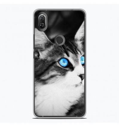 Coque en silicone Wiko View 2 - Chat yeux bleu
