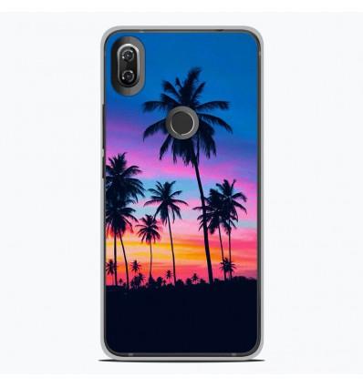 Coque en silicone Wiko View 2 - Palmiers colorés