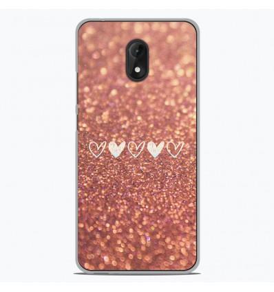 Coque en silicone Wiko Lenny 5 - Paillettes coeur