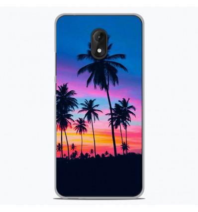 Coque en silicone pour Wiko Lenny 5 - Palmiers colorés