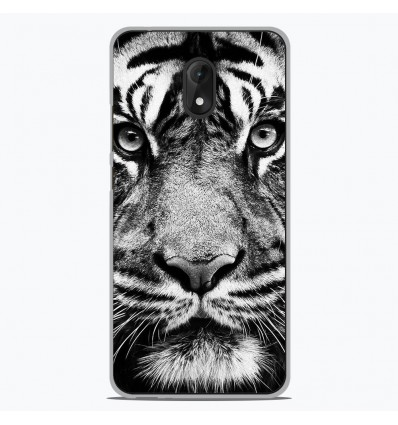 Coque en silicone Wiko Lenny 5 - Tigre blanc et noir