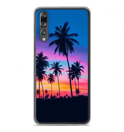 Coque en silicone Huawei P20 Pro - Palmiers colorés