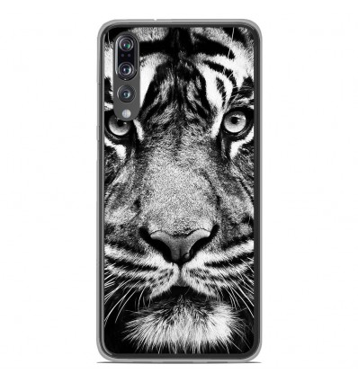 Coque en silicone Huawei P20 Pro - Tigre blanc et noir