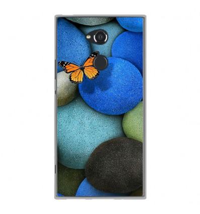 Coque en silicone Sony Xperia XA2 Ultra - Papillon galet bleu