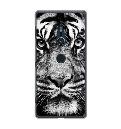 Coque en silicone Sony Xperia XZ2 - Tigre blanc et noir