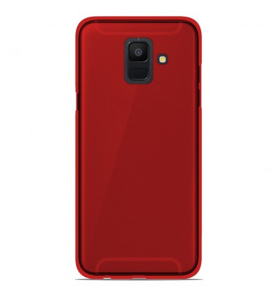 Coque Samsung Galaxy A6 2018 Silicone Gel givré - Rouge Translucide