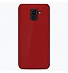Coque Samsung Galaxy J6 2018 Silicone Gel givré - Rouge Translucide