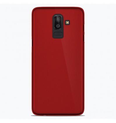 Coque Samsung Galaxy J8 2018 Silicone Gel givré - Rouge Translucide