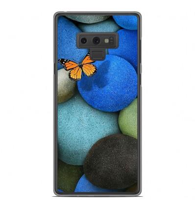 Coque en silicone Samsung Galaxy Note 9 - Papillon galet bleu