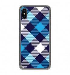 Coque en silicone Apple iPhone X / XS - Tartan Bleu