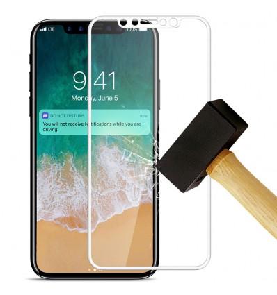 Film verre trempé 4D - Apple iPhone X / XS Blanc protection écran