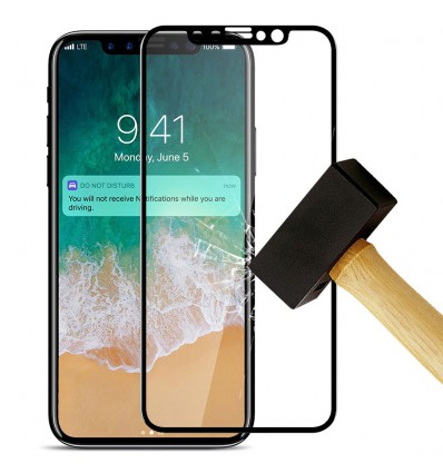 Film verre trempé 4D - Apple iPhone XR Noir protection écran