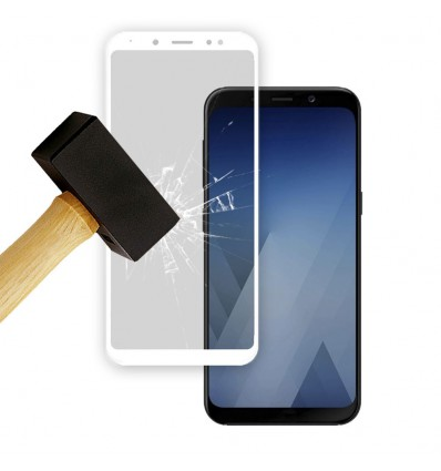 Film verre trempé 4D - Samsung Galaxy A8 2018 Blanc protection écran