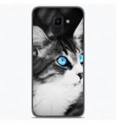 Coque en silicone Samsung Galaxy J6 Plus 2018 - Chat yeux bleu