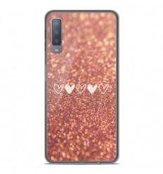 Coque en silicone Samsung Galaxy A7 2018 - Paillettes coeur