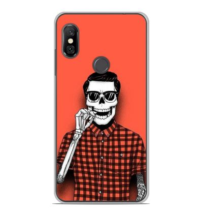 Coque en silicone Xiaomi Redmi Note 6 / Note 6 Pro - Skull Hipster red shirt