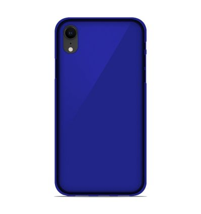 Coque Apple iPhone XR Silicone Gel givré - Bleu Translucide
