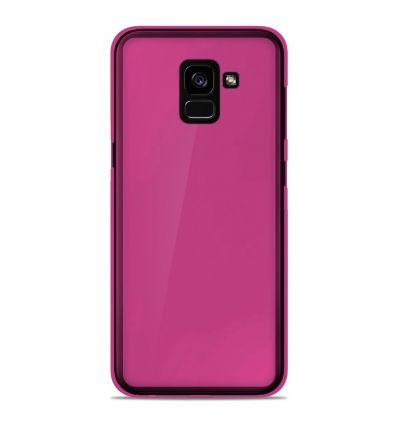 Coque Samsung Galaxy A8 plus 2018 Silicone Gel givré - Rose Translucide