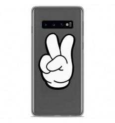 Coque en silicone Samsung Galaxy S10 - Swag Hand Blanc