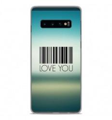 Coque en silicone Samsung Galaxy S10 - Code barre Love you