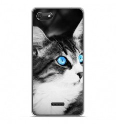 Coque en silicone Wiko Harry 2 - Chat yeux bleu