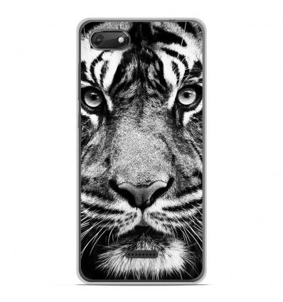Coque en silicone Wiko Harry 2 - Tigre blanc et noir