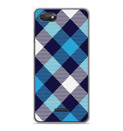 Coque en silicone Wiko Harry 2 - Tartan Bleu