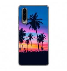 Coque en silicone Huawei P30 - Palmiers colorés