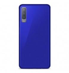 Coque Samsung Galaxy A7 2018 Silicone Gel givré - Bleu Translucide