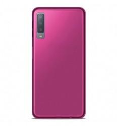 Coque Samsung Galaxy A7 2018 Silicone Gel givré - Rose Translucide
