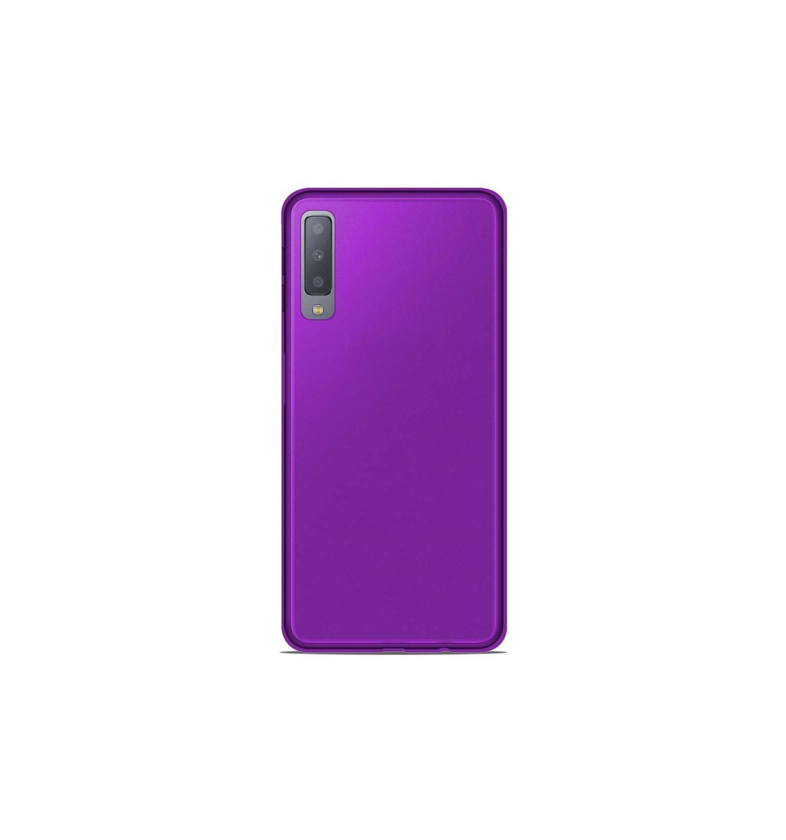 Coque Samsung Galaxy A7 2018 Silicone Gel givré - Violet Translucide