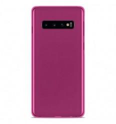 Coque Samsung Galaxy S10 Silicone Gel givré - Rose Translucide