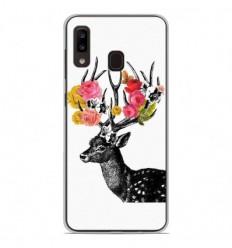 Coque en silicone Samsung Galaxy A20 / A30 - Cerf fleurs