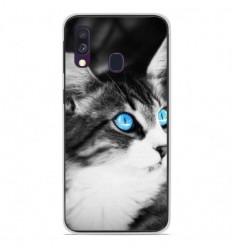 Coque en silicone Samsung Galaxy A40 - Chat yeux bleu