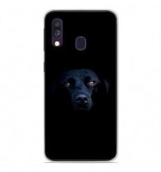 Coque en silicone Samsung Galaxy A40 - Chien noir