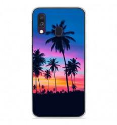 Coque en silicone Samsung Galaxy A40 - Palmiers colorés