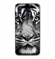 Coque en silicone Samsung Galaxy A40 - Tigre blanc et noir