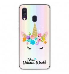 Coque en silicone Samsung Galaxy A40 - Unicorn World