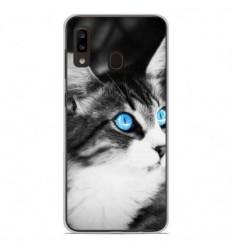 Coque en silicone Samsung Galaxy A20e - Chat yeux bleu