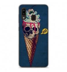 Coque en silicone Samsung Galaxy A20e - Ice cream skull blue