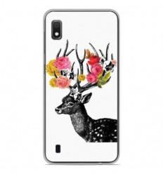Coque en silicone Samsung Galaxy A10 - Cerf fleurs