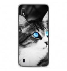 Coque en silicone Samsung Galaxy A10 - Chat yeux bleu