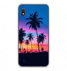 Coque en silicone Samsung Galaxy A10 - Palmiers colorés