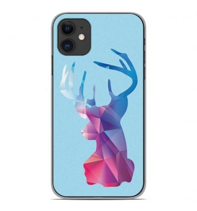 Coque en silicone Apple iPhone 11 - Cerf Hipster Bleu
