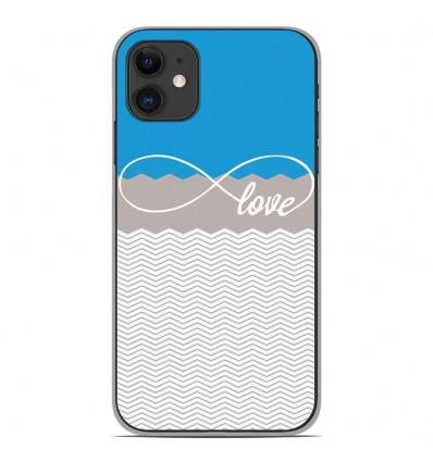 Coque en silicone pour Apple iPhone 11 - Love Bleu