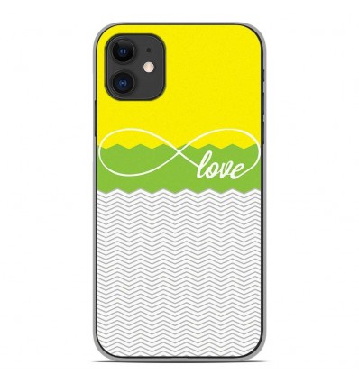 Coque en silicone Apple iPhone 11 - Love Jaune